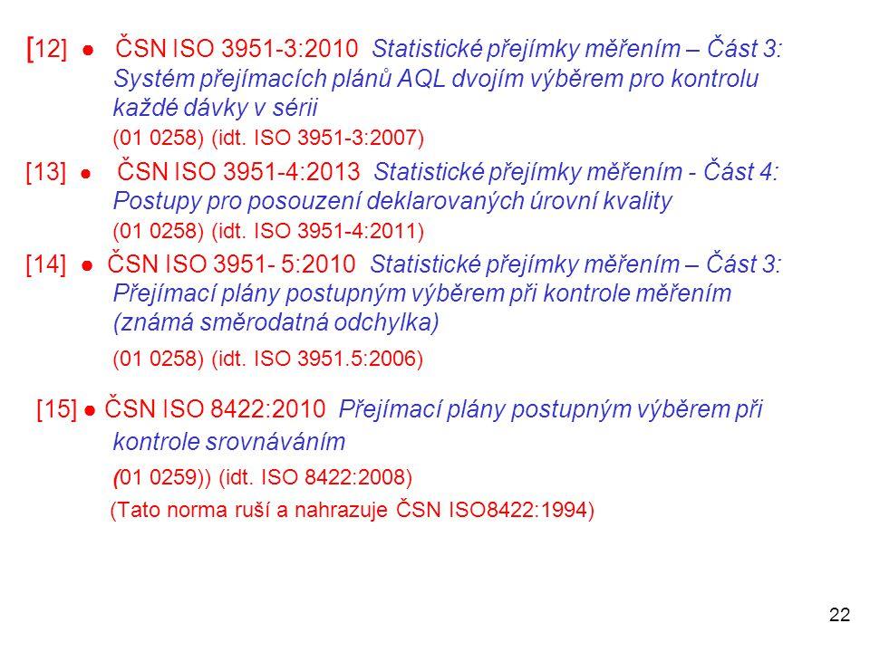 [12] ● ČSN ISO 3951-3:2010 Statistické přejímky měřením – Část 3: